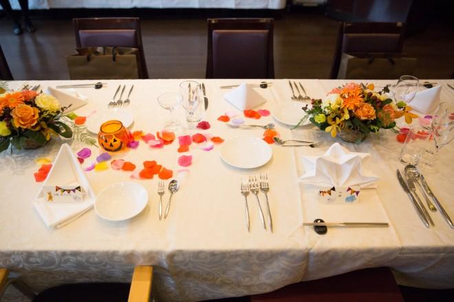 会費婚,テーブル総花,オレンジ