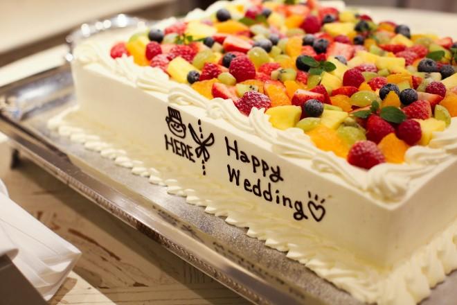 ウェディングケーキ,会費婚,フルーツ