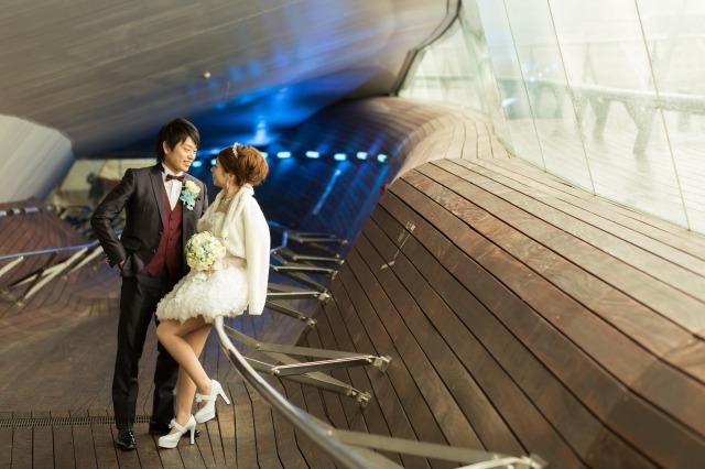 会費婚,大桟橋,結婚式,パーティー,,挙式後,海