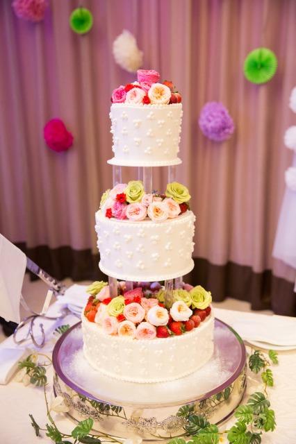 ウェディングケーキ,ピンク,お花