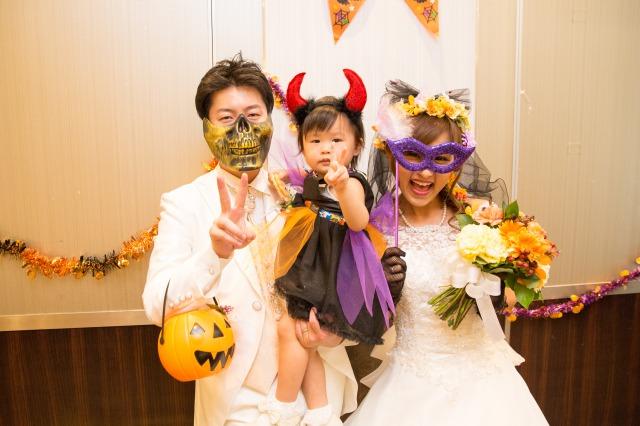 会費婚,ハロウィン,結婚式,オレンジ