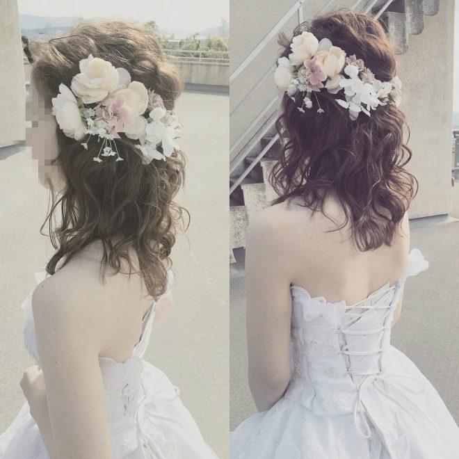 髪型ミディアムでも可愛くできる結婚式のヘアスタイル 元